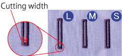 Cutting width adjustment of the buttonhole